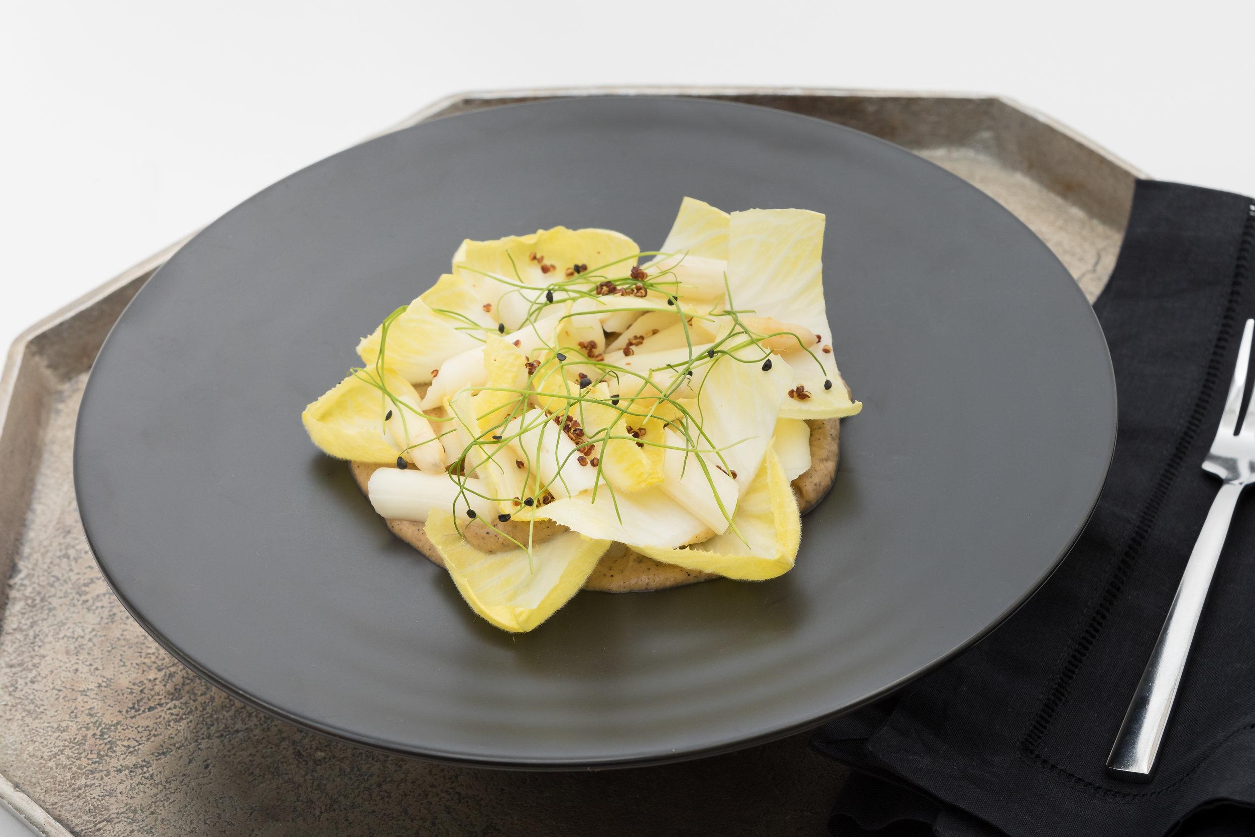 White Asparagus & Belgium Endive Salad w_Truffled Chanterelle Cream, Crispy Grains_Amanda Gentile1 (1).jpg
