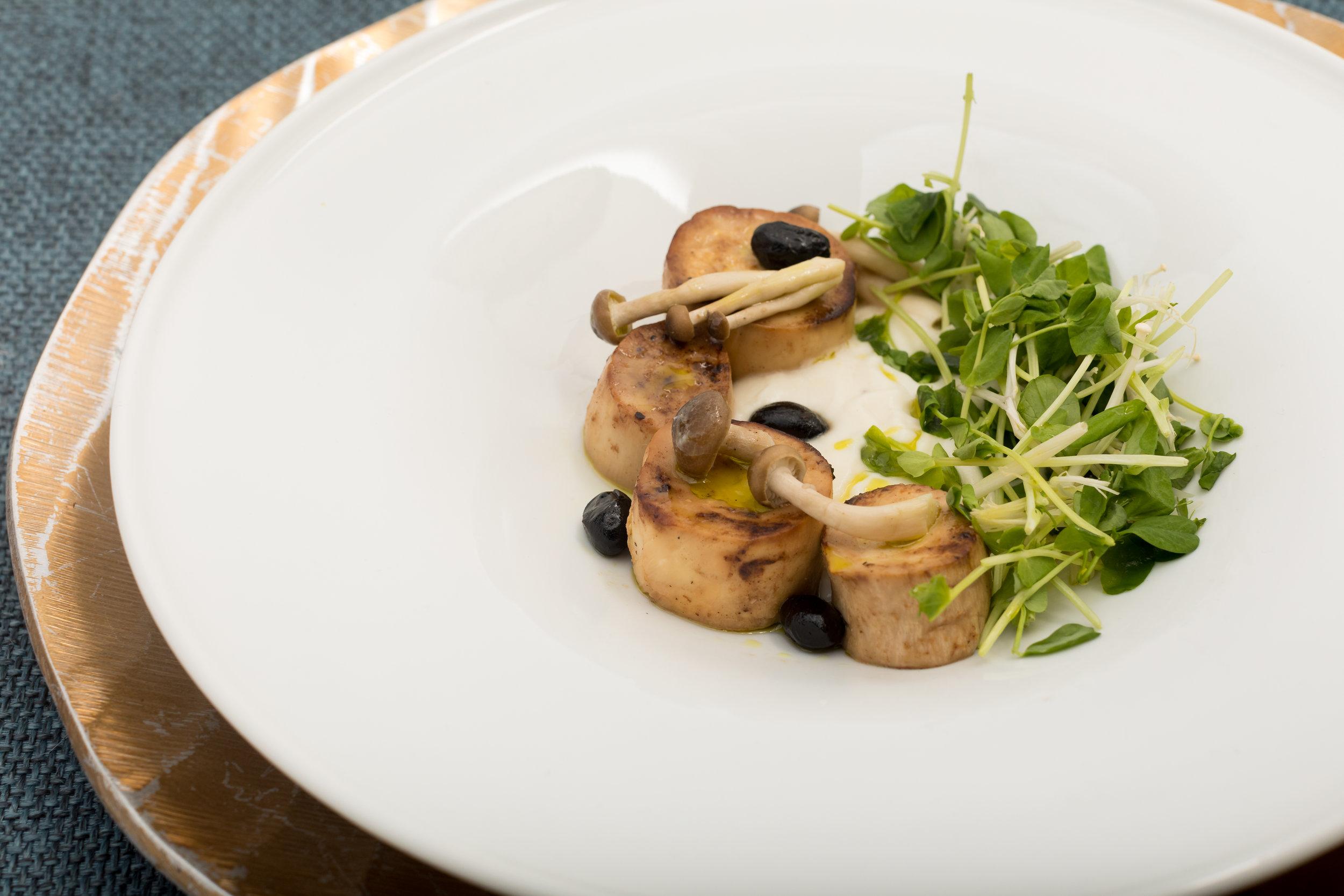 Miso Glaced King Oyster Mushroom Scallops w_Cauliflower, Lemon Veloute & Snow Peas,Pea Tendrils_Amanda Gentile3.jpg
