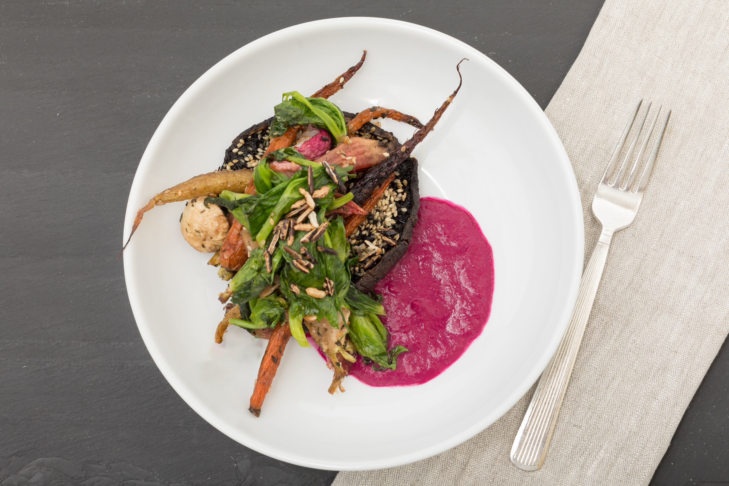 Za'Atar  Roast Portobello Steak & Spring Roots  w_ Wilted Snow Pea Greens, Crispy Wild Rice_Amanda Gentile2.jpg