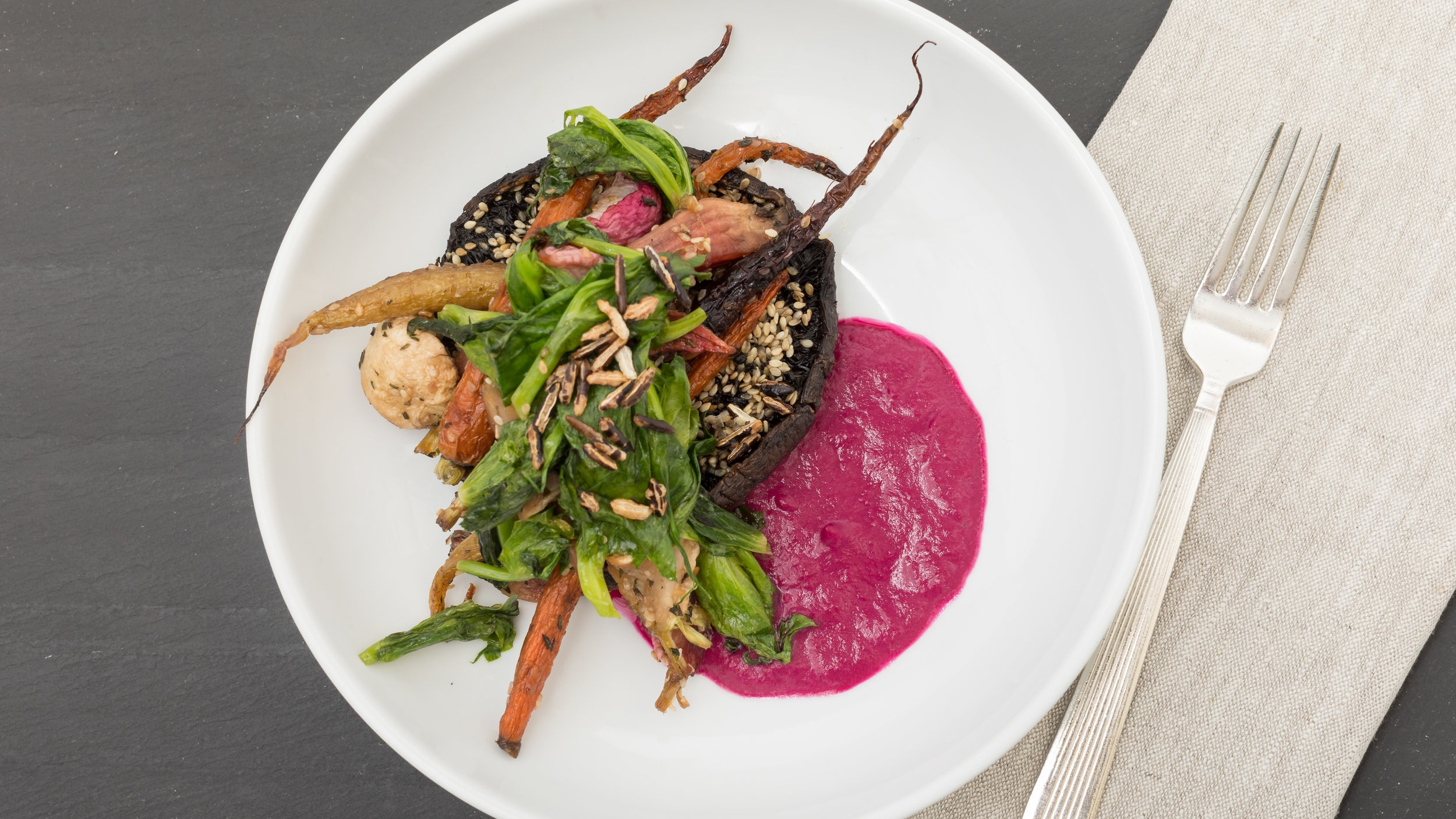 Za'Atar  Roast Portobello Steak & Spring Roots  w_ Wilted Snow Pea Greens, Crispy Wild Rice_Amanda Gentile2.jpg