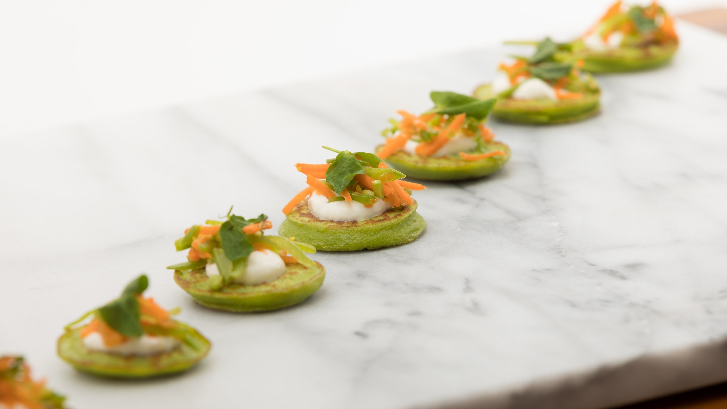 English Pea Blini w_ Carrot & Snow Pea Gremolata_Amanda Gentile7.jpg
