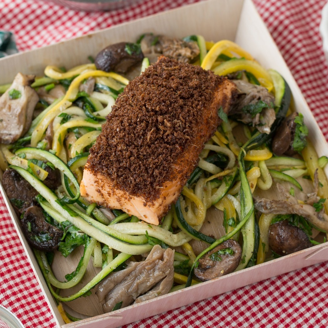 Dizzy's CLUB AT JAZZ AT LINCOLN CENTER - PAN SEARED SALMONcitrus and garlic-scented zucchini pasta, red grape tomatoes