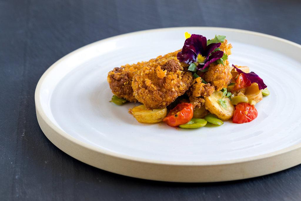 Mock Fried Chicken with Vegan Green Goddess Dressing, Warm Fingerling Potato Salad_h.jpg