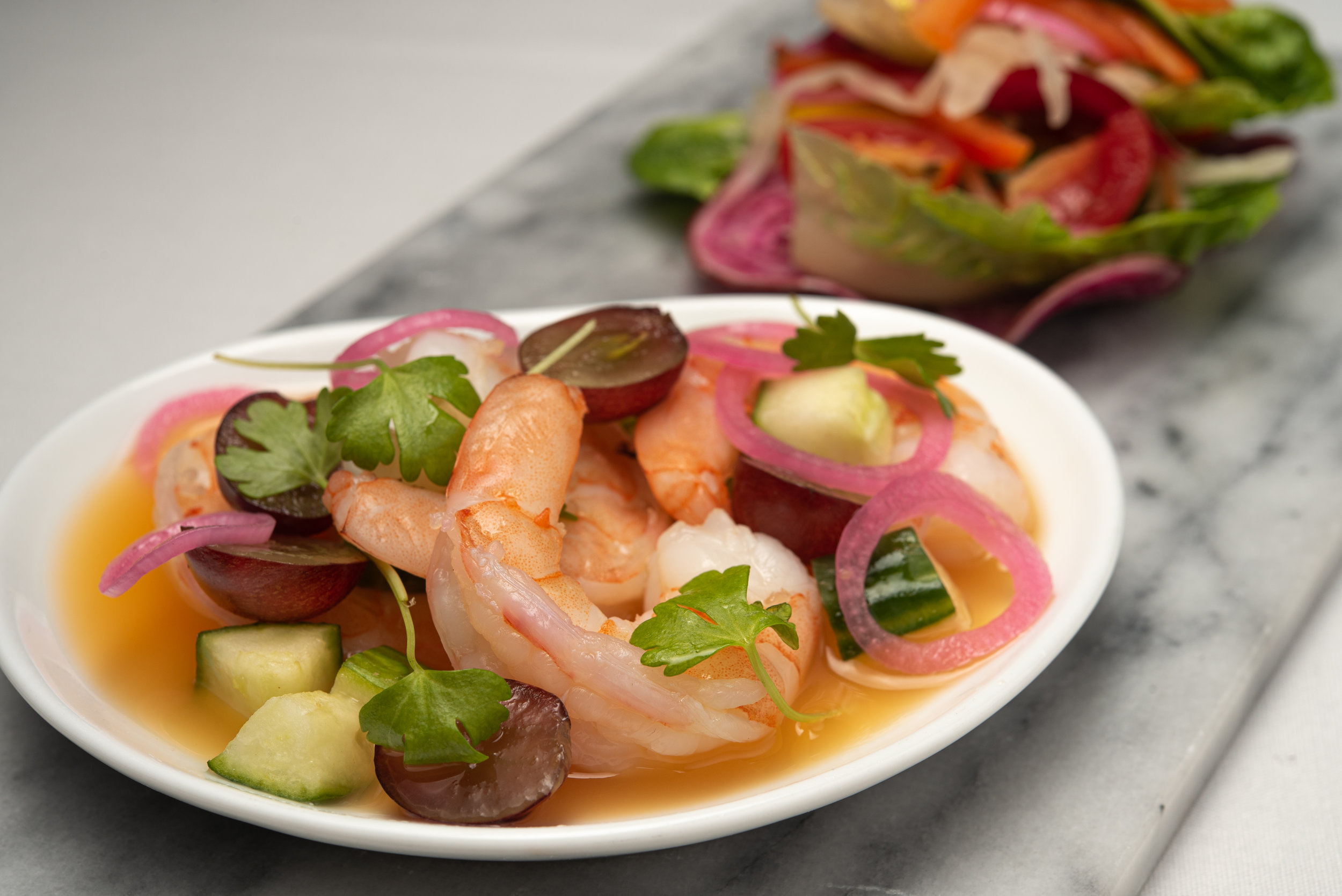 Shrimp Aqua Chili & Greens_Marinated Shrimp, Cucumber, Grapes, Blood Orange, Gem Lettuce, Peppers, House Fermented Veget.jpg