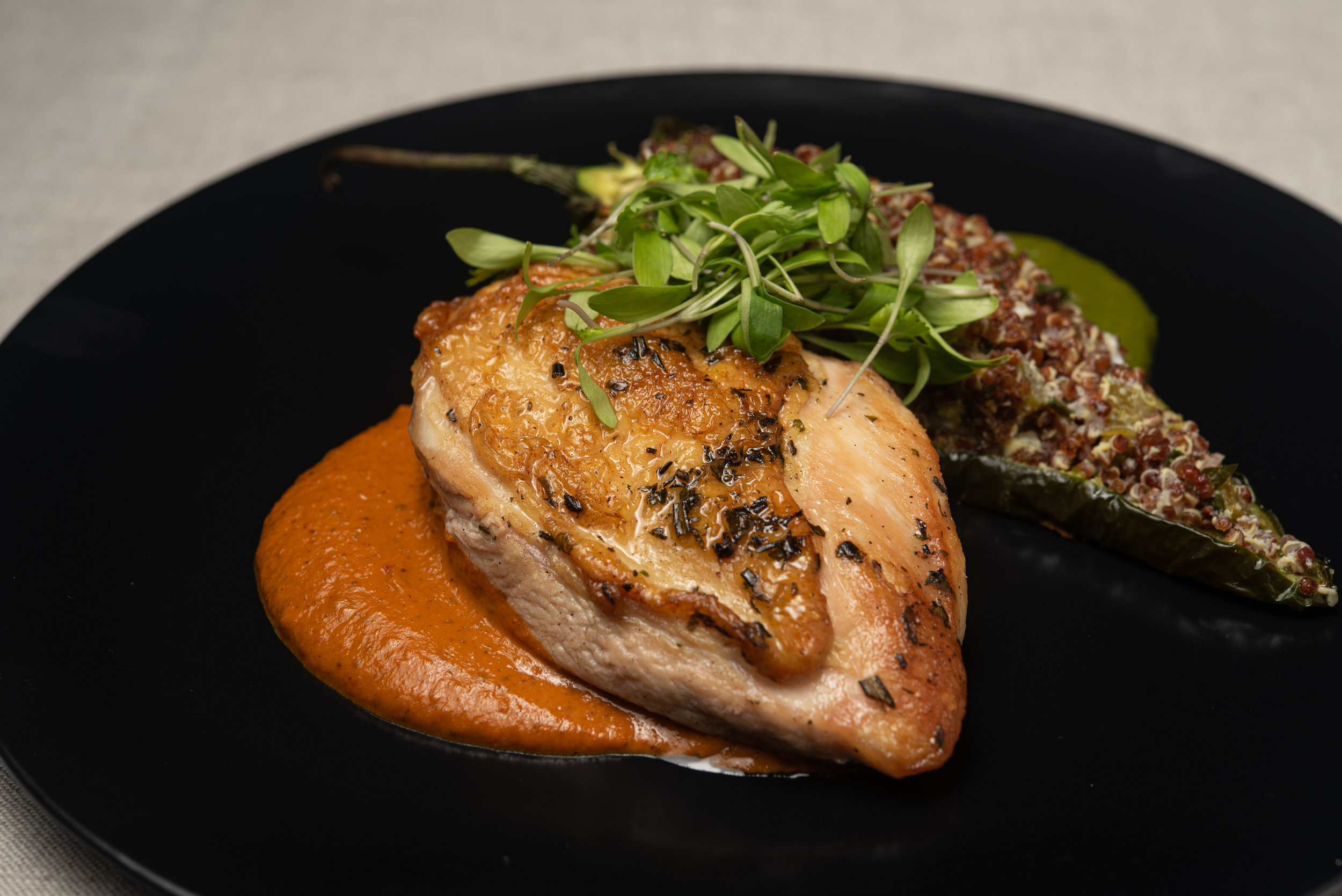 Roast Chicken Breast w Puree of Autumn Roots, Quinoa Stuffed Chile Poblano, Cilantro Cream.jpg