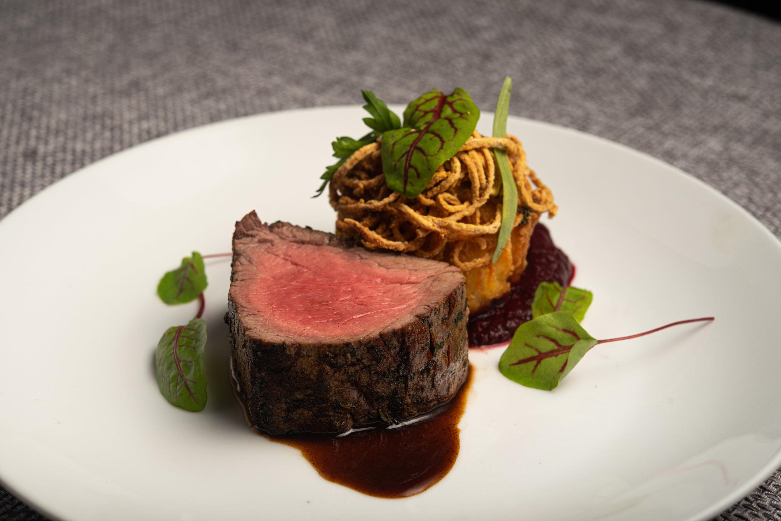 Beef Fillet w Spinach & Potato Rosti, Beet Soubise, Basil Oil.jpg