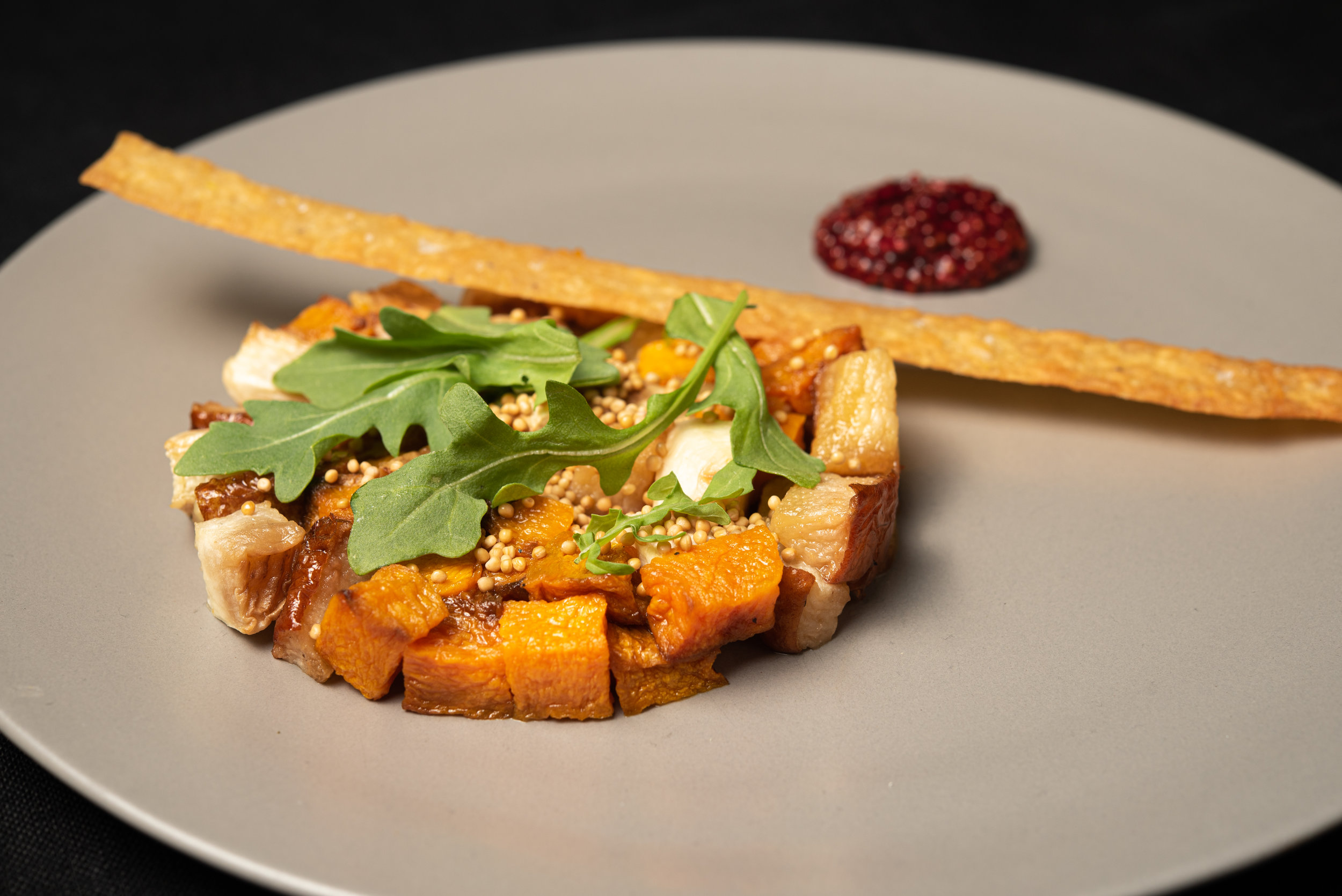Pumpkin Tart with Kabocha Squash, Hudson Valley Apple, Goat Cheese, Apple Cider Gastrique, Greens, Herbs.jpg