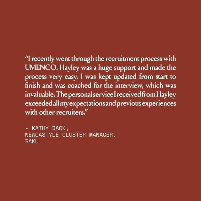 UMENCO TALENT | A lovely testimonial from Kathy Back, Newcastle Cluster Manager at Baku.  #thecompanywekeep #yournewcareerstartshere #hr #recruitment