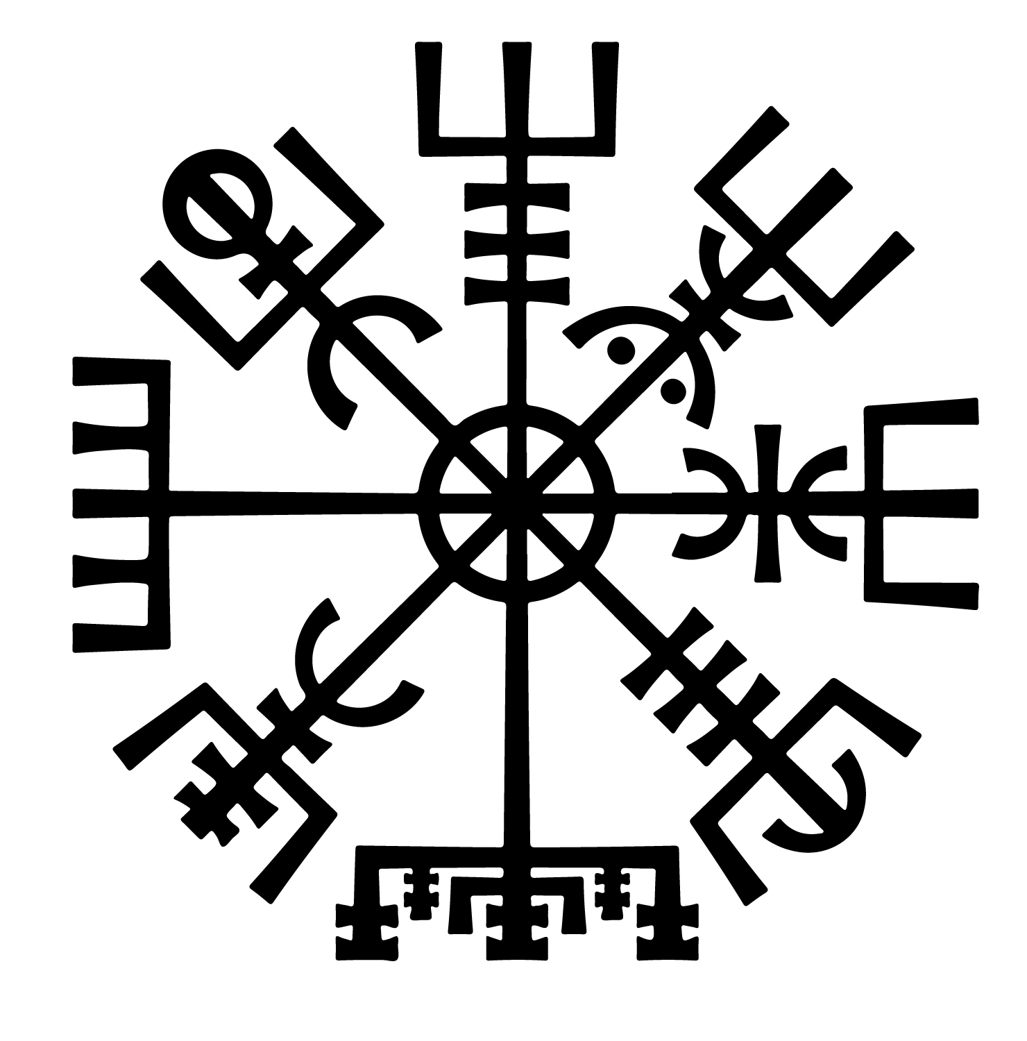 "The Vegvisir - ""If this sign is carried, one will never lose one's way in storms or bad weather, even when the way is not known"" (Flowers & Weise 1989)"