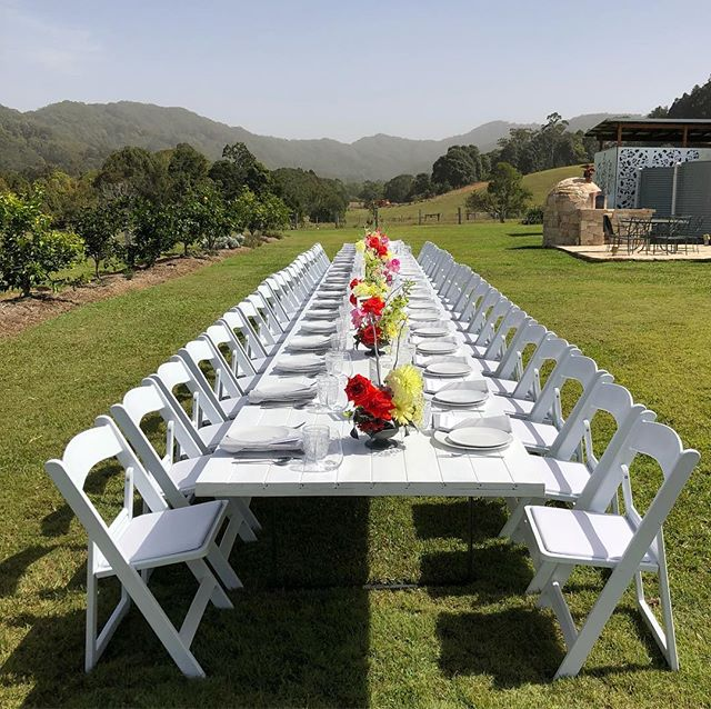 How's the view!? ✨ We'd love to help you with Event Hire solutions for both indoor and outdoor events for any occasion!  Here's another great shot of a long table lunch we created for 50 people @thevaleaustralia 💃🏽