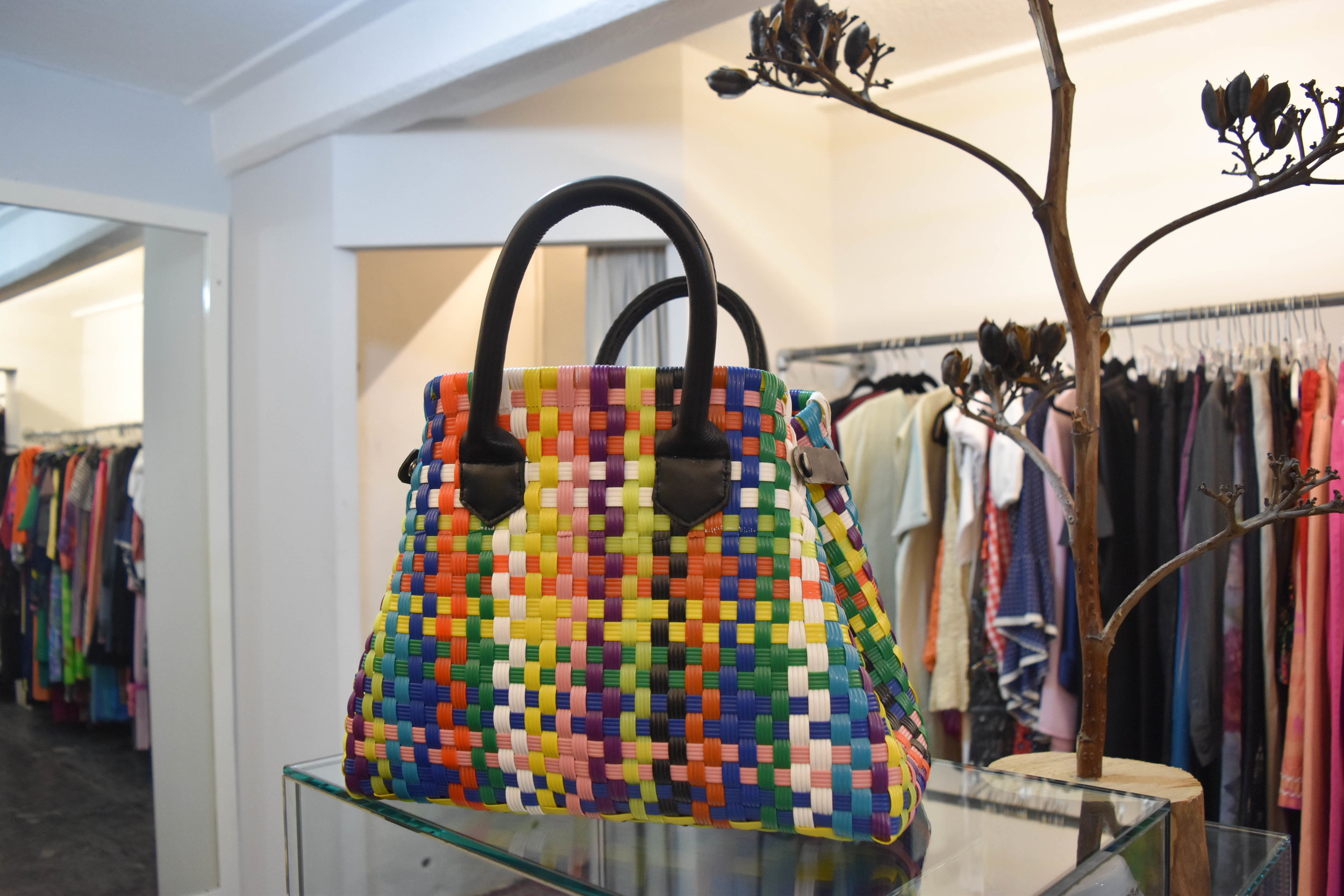 Colorful woven bags fill the store. Pretty perfect gift for friends back home.