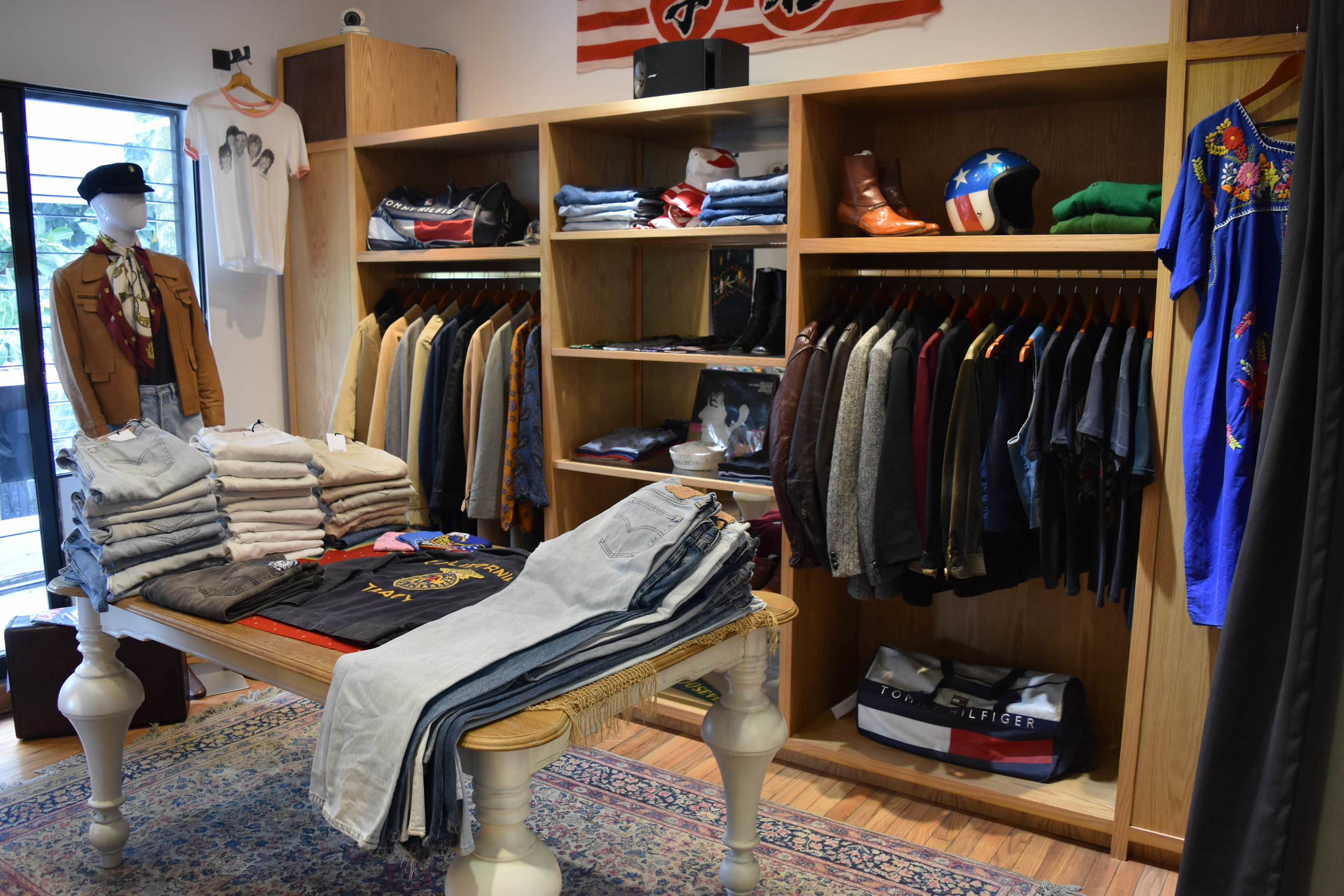 The Jagger Room —band t-shirts, vintage jeans, and a lot of leather.