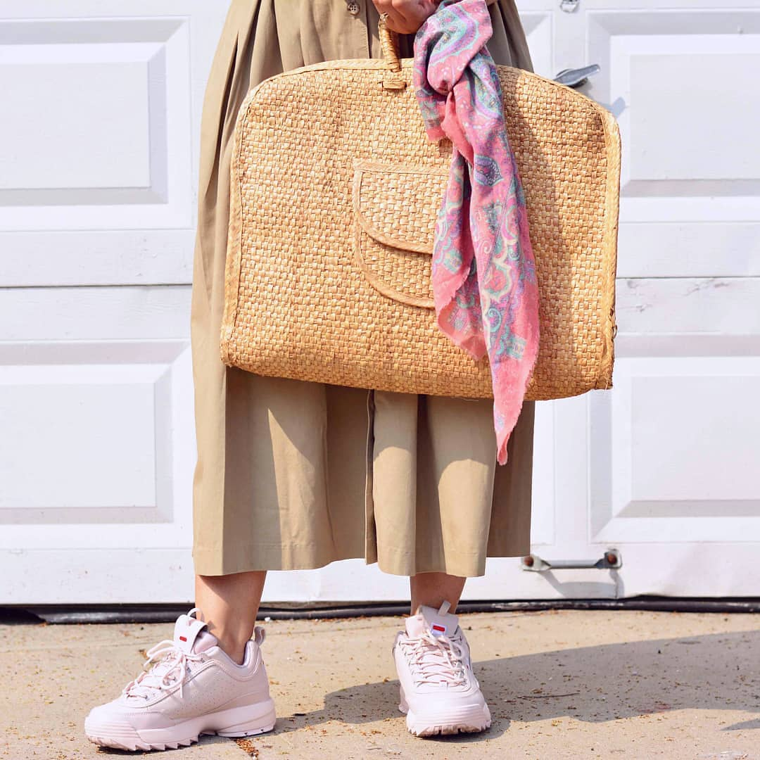 Can fit a laptop or a picnic (prefer a picnic). Bag from Veer Craft Design and scarf from  Stella Dallas .
