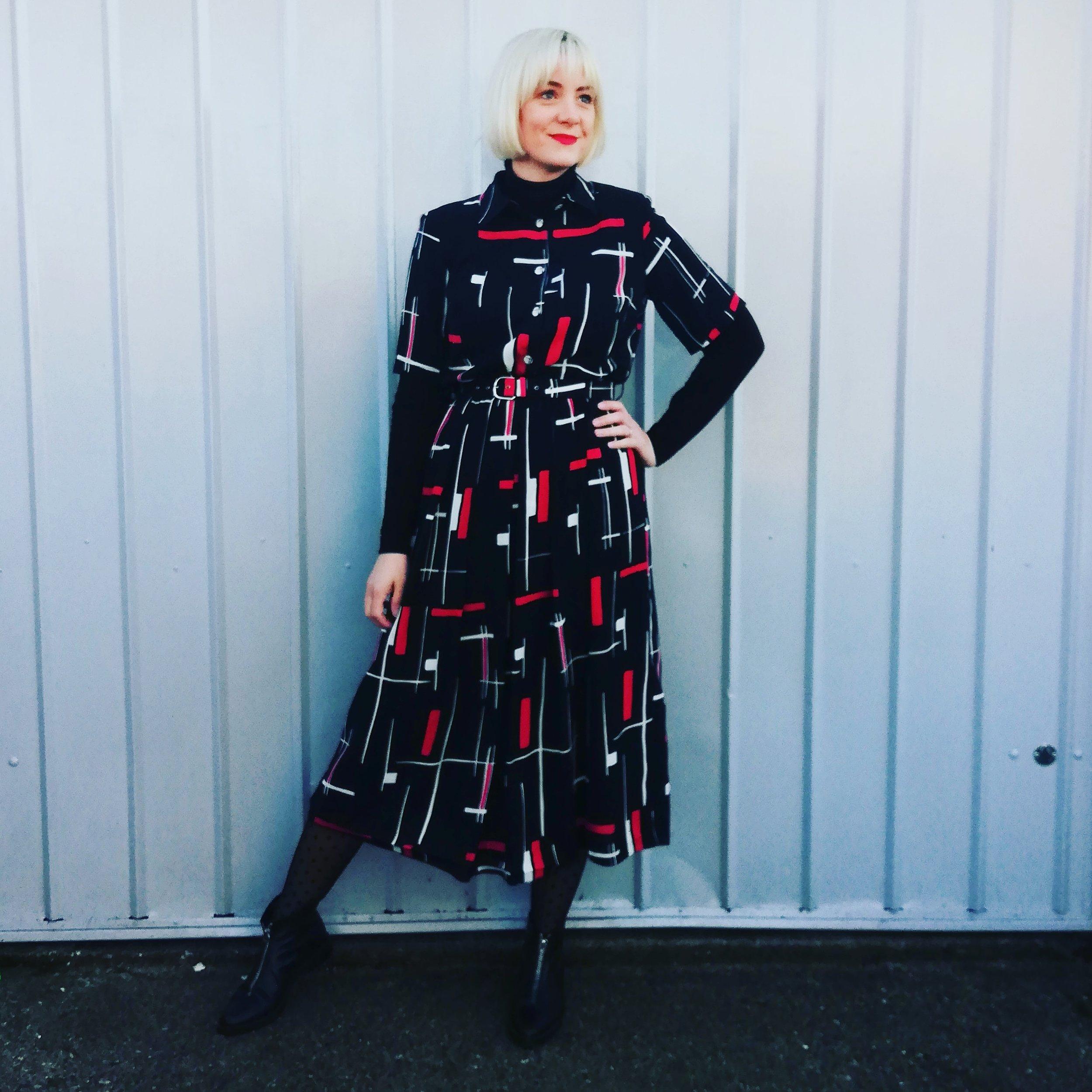 Allie rocking a vintage 80s Mandy Marsh dress.