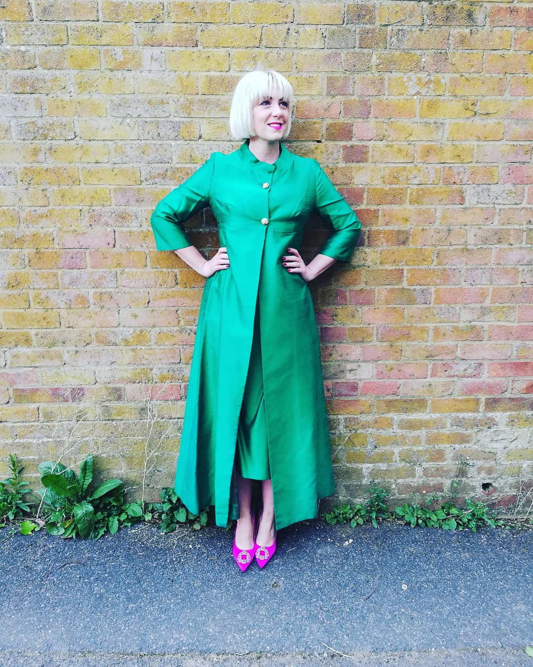 Green queen. 1960s silk skirt suit by  Kitty Copeland  found at a boot sale.