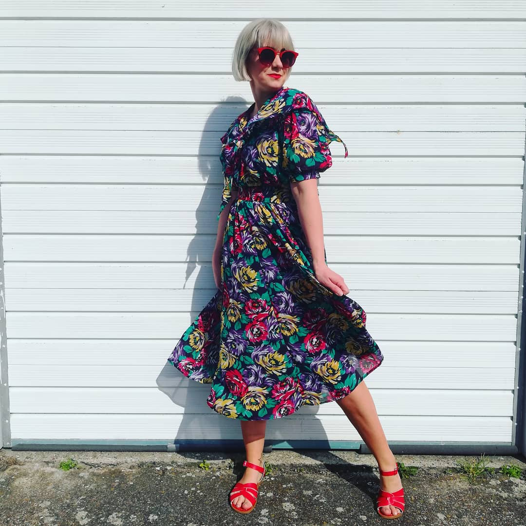 Flower queen. 1980s vintage floral dress with its own cape (!!) found in  Mind Charity Shop .