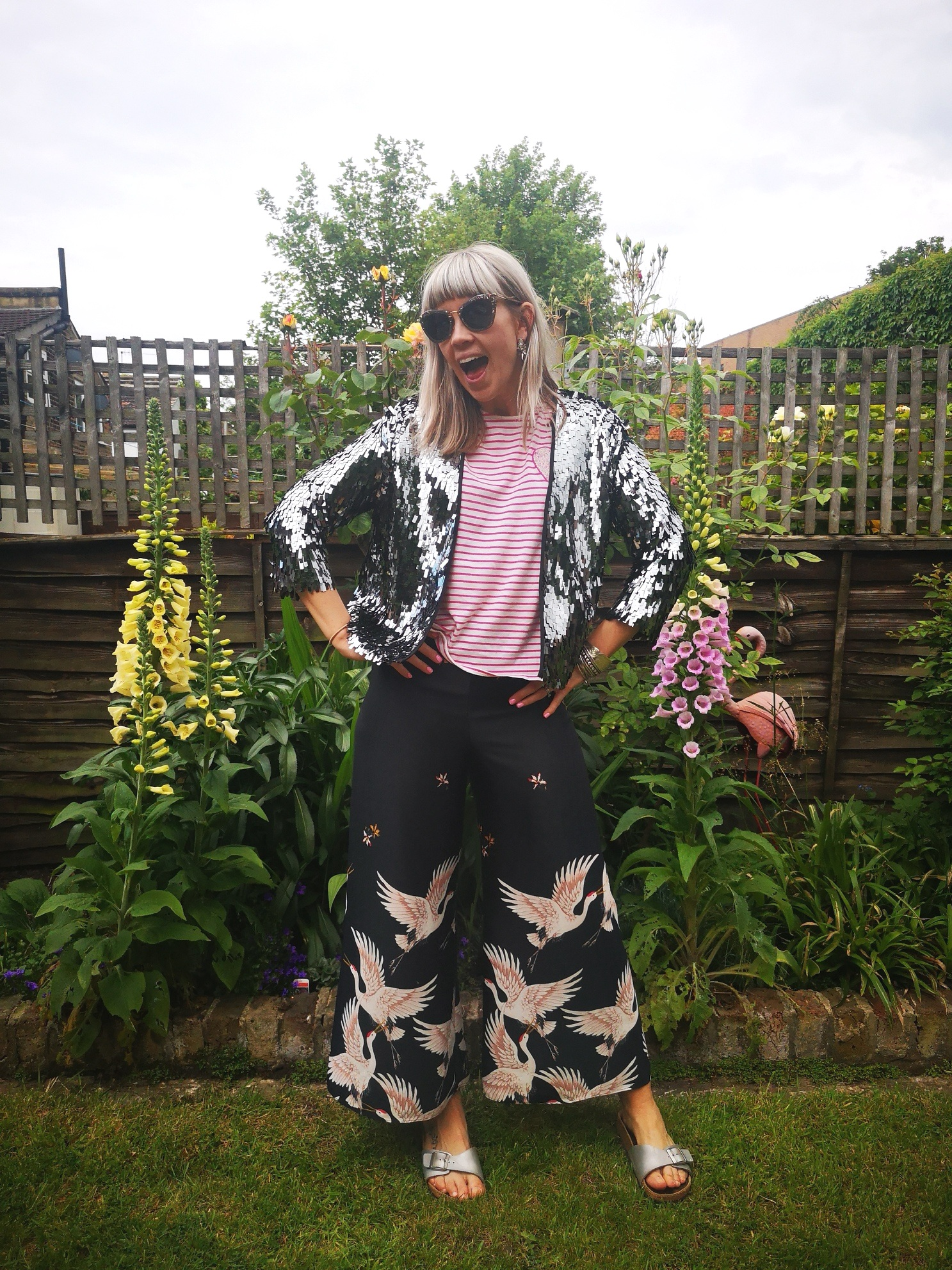Mixing patterns, colors, and textures. Silver sequin jacket from eBbay with  Chinti & Parker  t-shirt on sale, and crane trousers from Zara (from many years ago)!