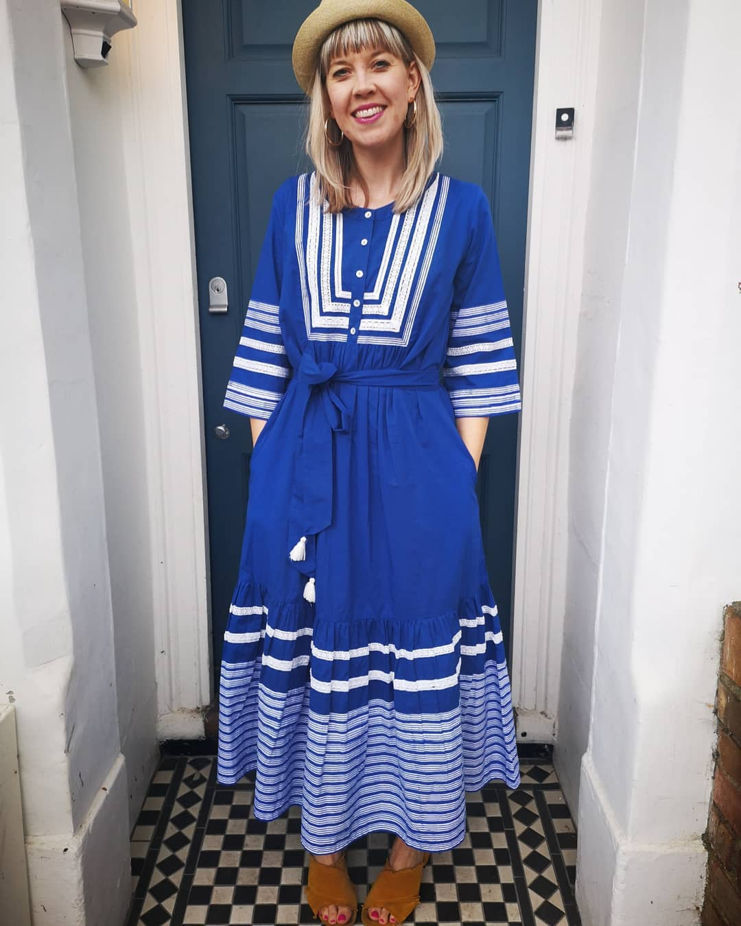 All natural. Indigo-dyed dress from Pink City Prints.