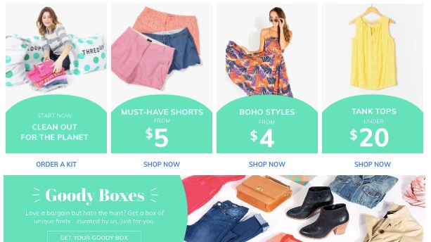 thredUP - thredUP is the largest of the online resale/secondhand shops with over 30,000 brands for women, kids, and teens. Think J. Crew, Anthropologie, and Kate Spade New York. Check out its strong deals (~90% off retail).
