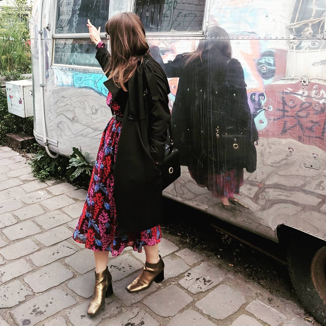 """""""This is my absolute favorite dress of all time, and I wear it at least once a week."""" The dress is Boden, jacket thrifted from  Sacred Heart Op Shops  in Melbourne, black bag from  Vinnies Stores  in Melbourne, and the belt is also thrifted."""