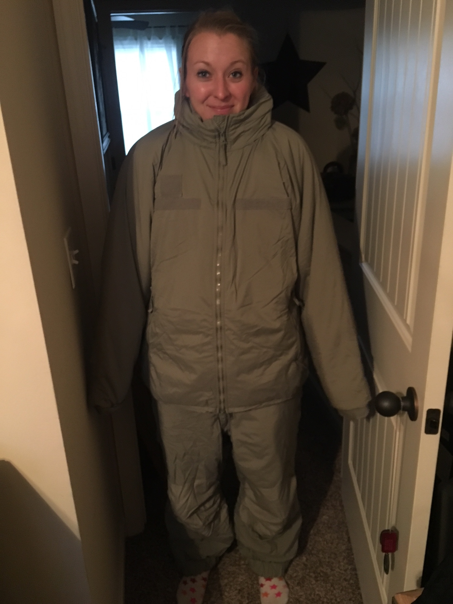 This snow suit had to be found but has only been worn by me in this photo.