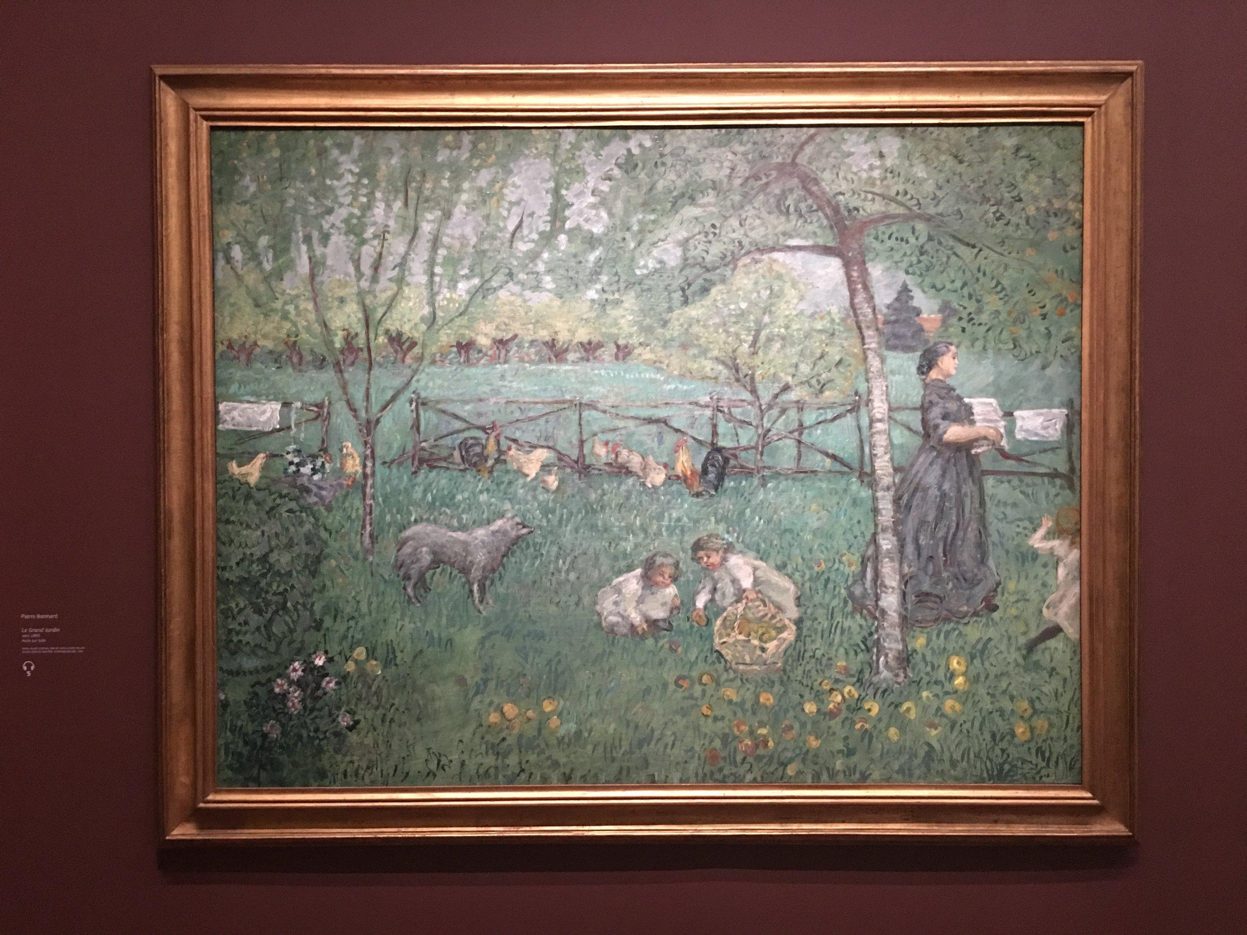 Pierre Bonnard - La Cueillette des pommes vers 1895  La série réalisée sur ce thème pourrait faire partie d'un projet de décor immersif.
