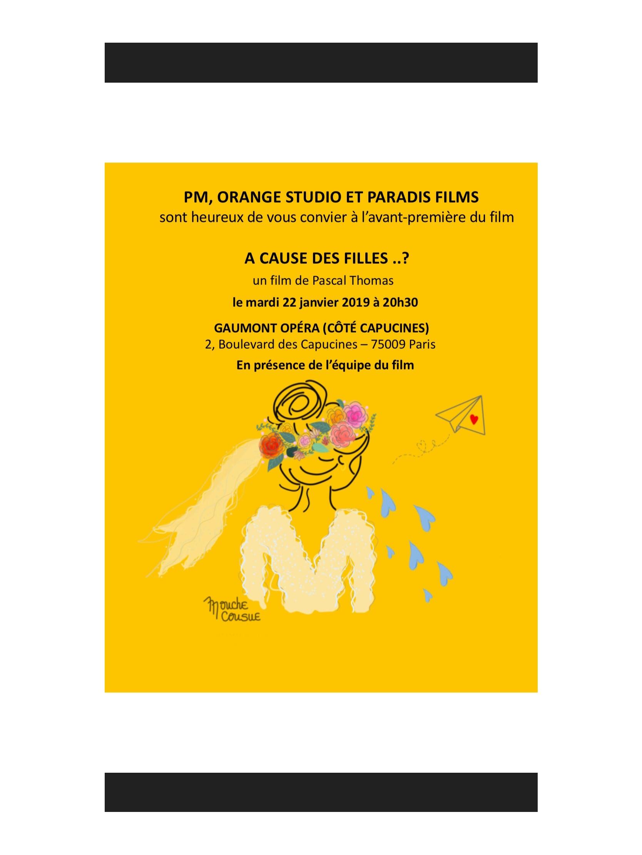 Illustration mouche cousue - carton d'invitation Film A cause des filles ..?