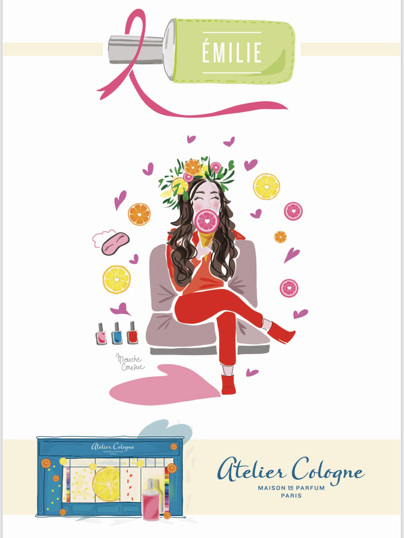 Illustration Mouche Cousue - Carton d'invitation personnalisée inauguration de la boutique Atelier Cologne Paris 4eme - série de 50 illustrations personnalisées