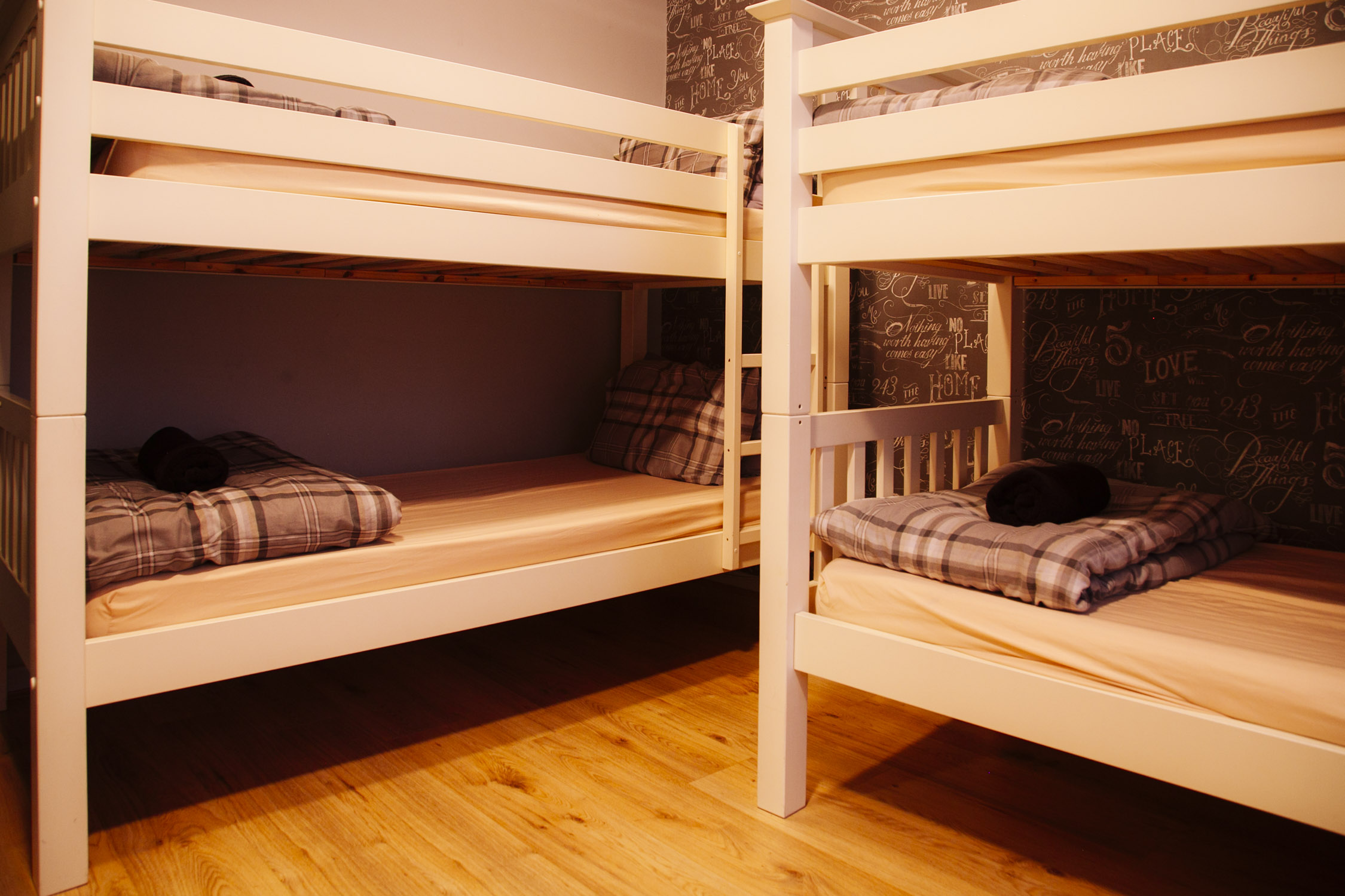 four bed private - A four bed room with shared bathroom.