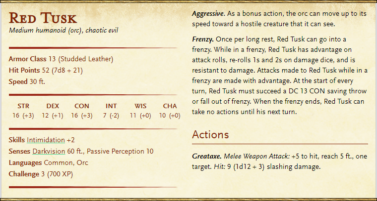 Red Tusk is available on D&D Beyond - Click the image to be taken to the page to add him to your collection.