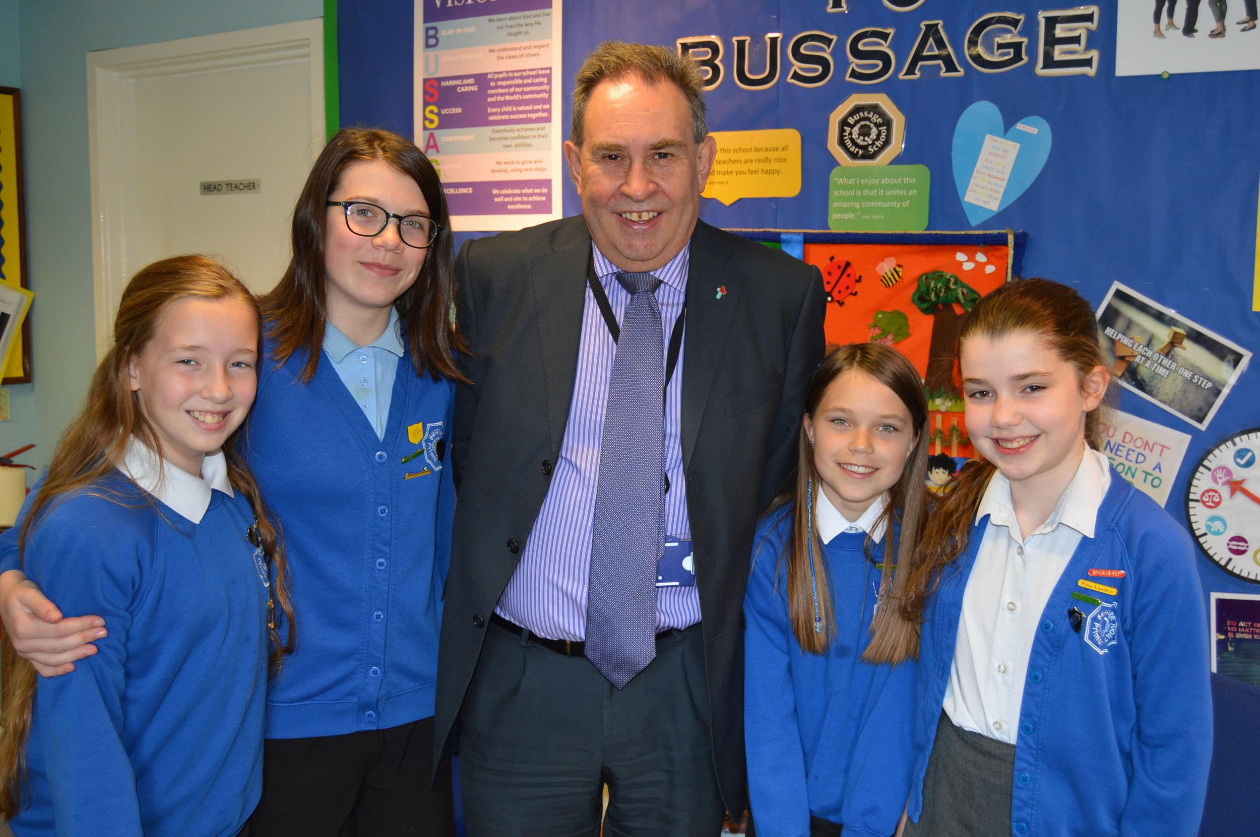 Left to right: Isabella Webb (Secretary), Evie Turner (Secretary) Mr Drew, Liberty Ross (Deputy Prime Minister), Hannah Jordan ( Prime Minister)