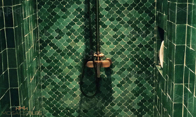 Moroccan fishscale zellige tiles in green