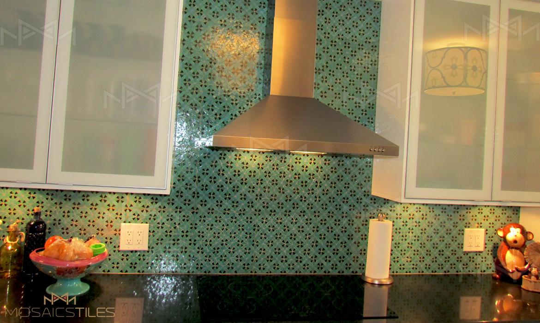 Mosaics-tiles ZEL018 in Light green, Light blue and black