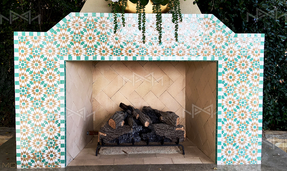 Moroccan tiles in private residence used for an outside fireplace in Los Angeles, California