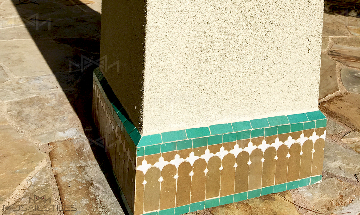 Zellige tile border with honeym white and light green colors