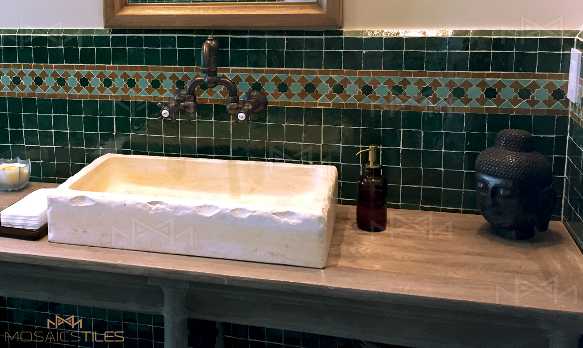 Zellige tiles in a bathroom in Miami, Florida USA