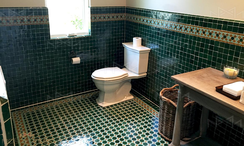 Batrhoom in green zellige tiles in Miami Florida