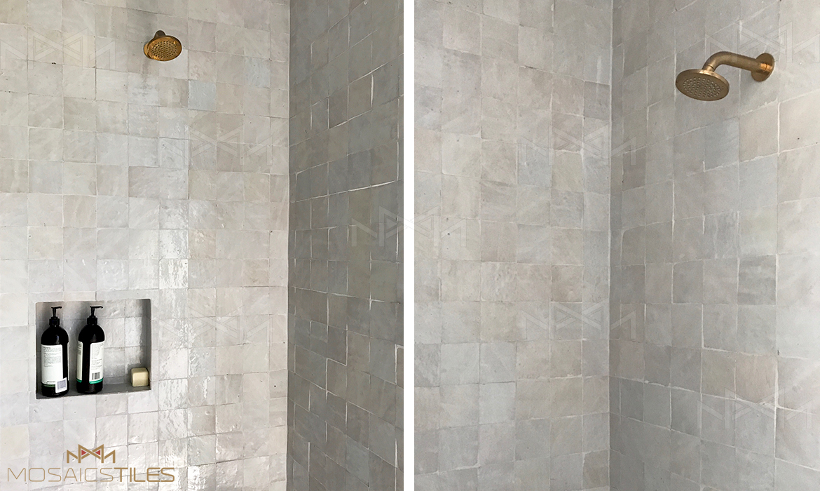 Handmade tiles in shower, Australia