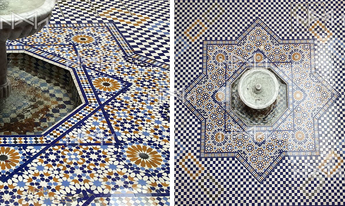 Colorful tiles and authentic fountain