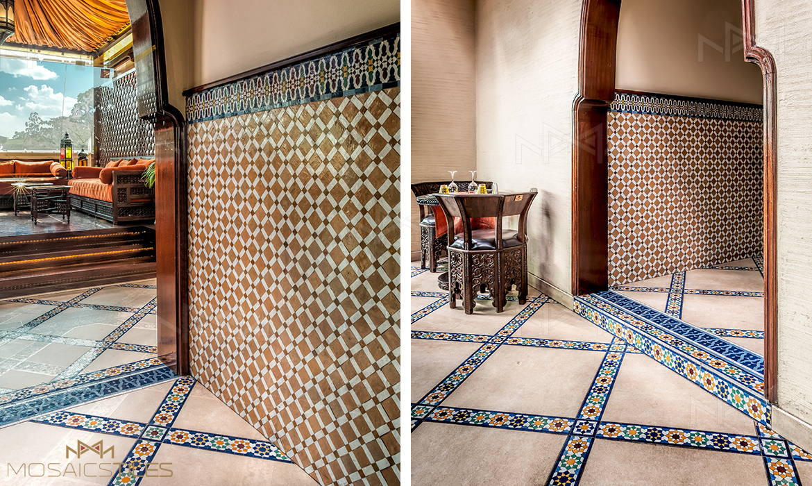 Zellige wall and floors with colorful moroccan tiles borders