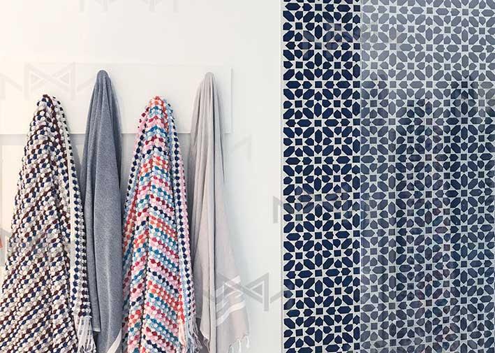 Moroccan zellige tiles in bathroom in Montreal Canada