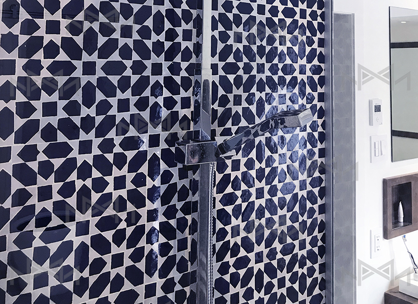 Moroccan blue and white zellige tiles in bathroom