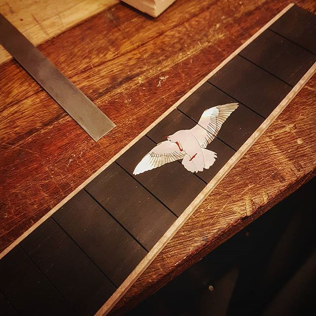 #seagull #inlay made a customer of @nordwallinstrument engraved and ready to go!  #mrinlay #luthier #luthiery #fretboard #ebony