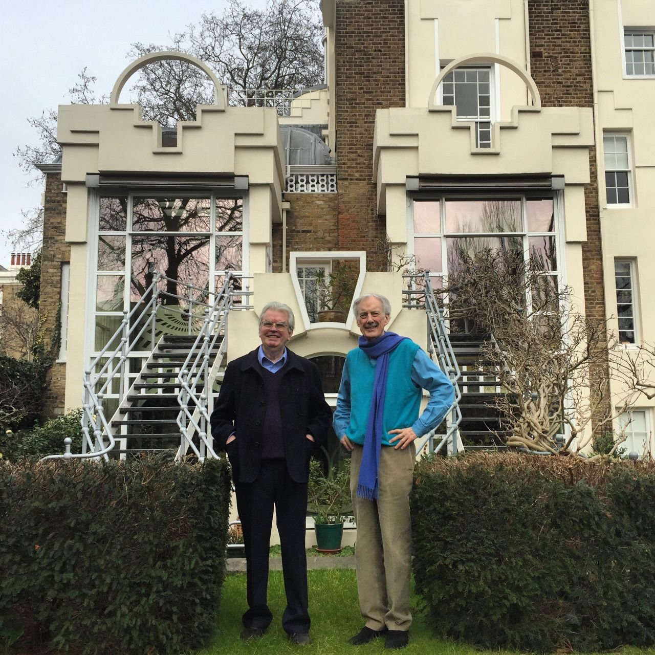 Terry Farrell and Charles Jencks outside the Thematic House