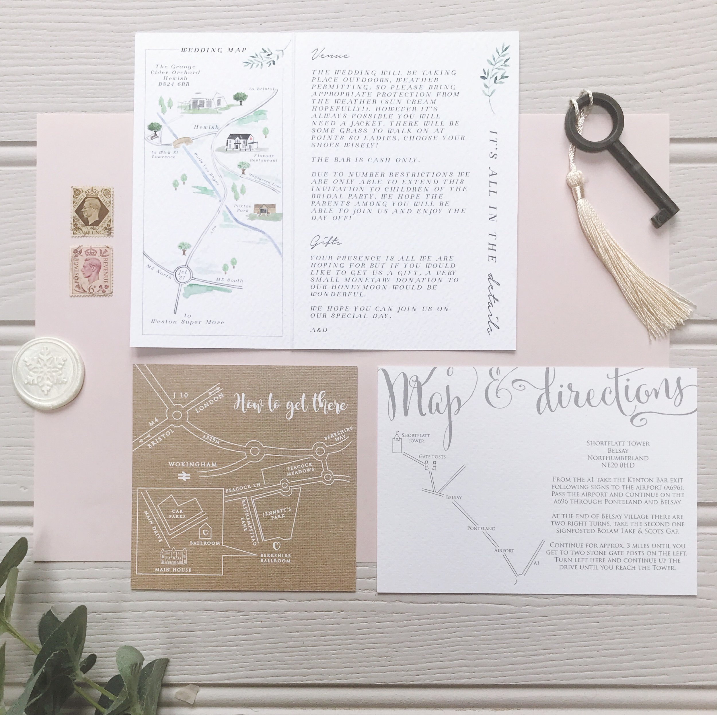 Custom Maps - Add a unique map to your invitations. Digital line drawn maps start at £15 and watercolour maps start at £30.