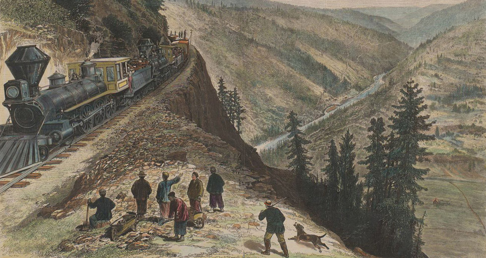 Chinese railroad workers on the Transcontinental Rail Line