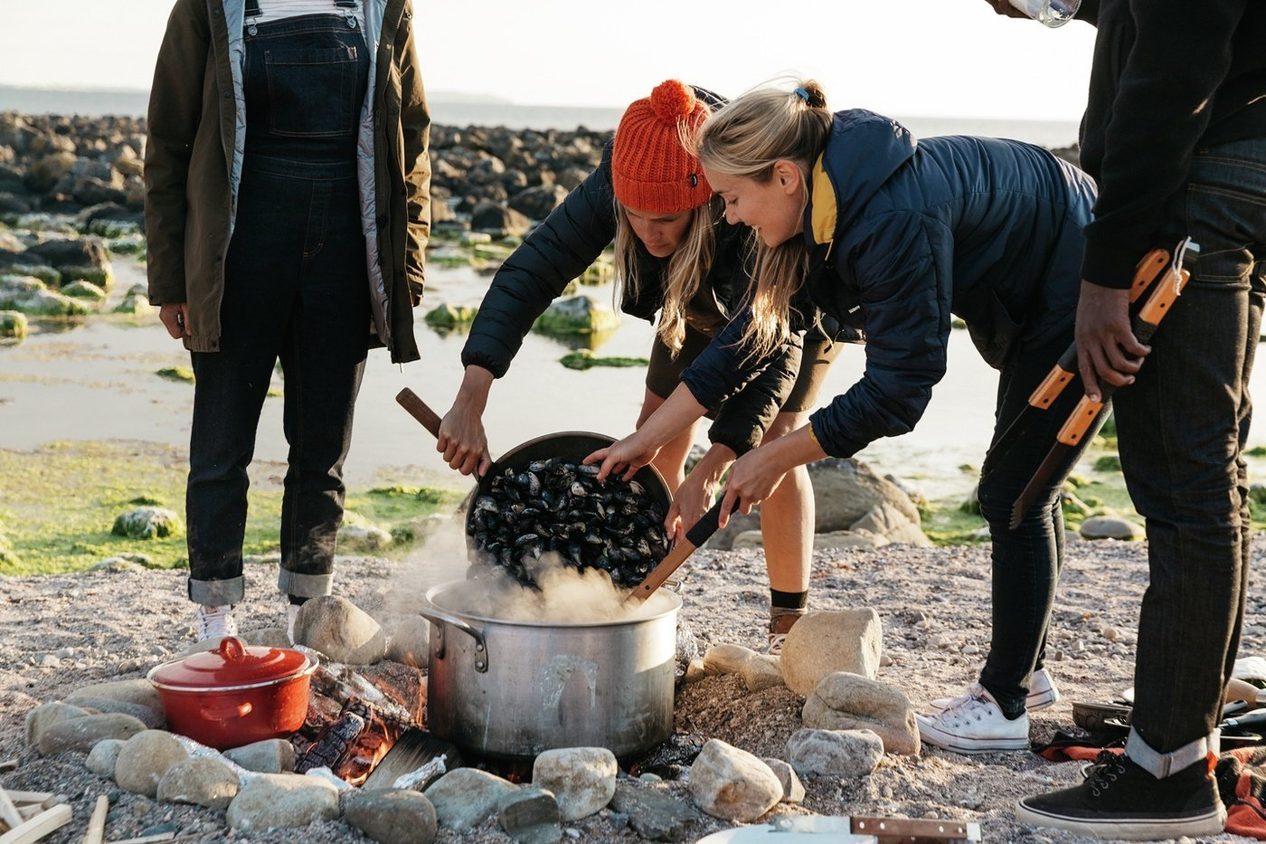 Cooking mussels - one of your best seafood options in terms of sustainability with the Finisterre crew