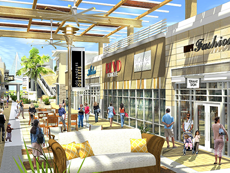 Los Angeles Outlets, a planned 400,000-square-foot outlet center, will feature approximately 90 designer and brand name retailers.