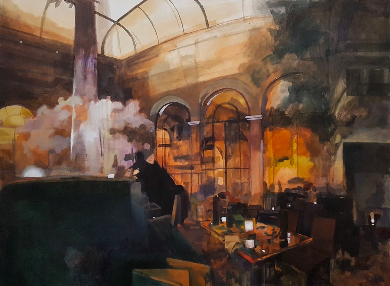 """Palm Court at the Plaza Hotel   40"""" x 50""""  