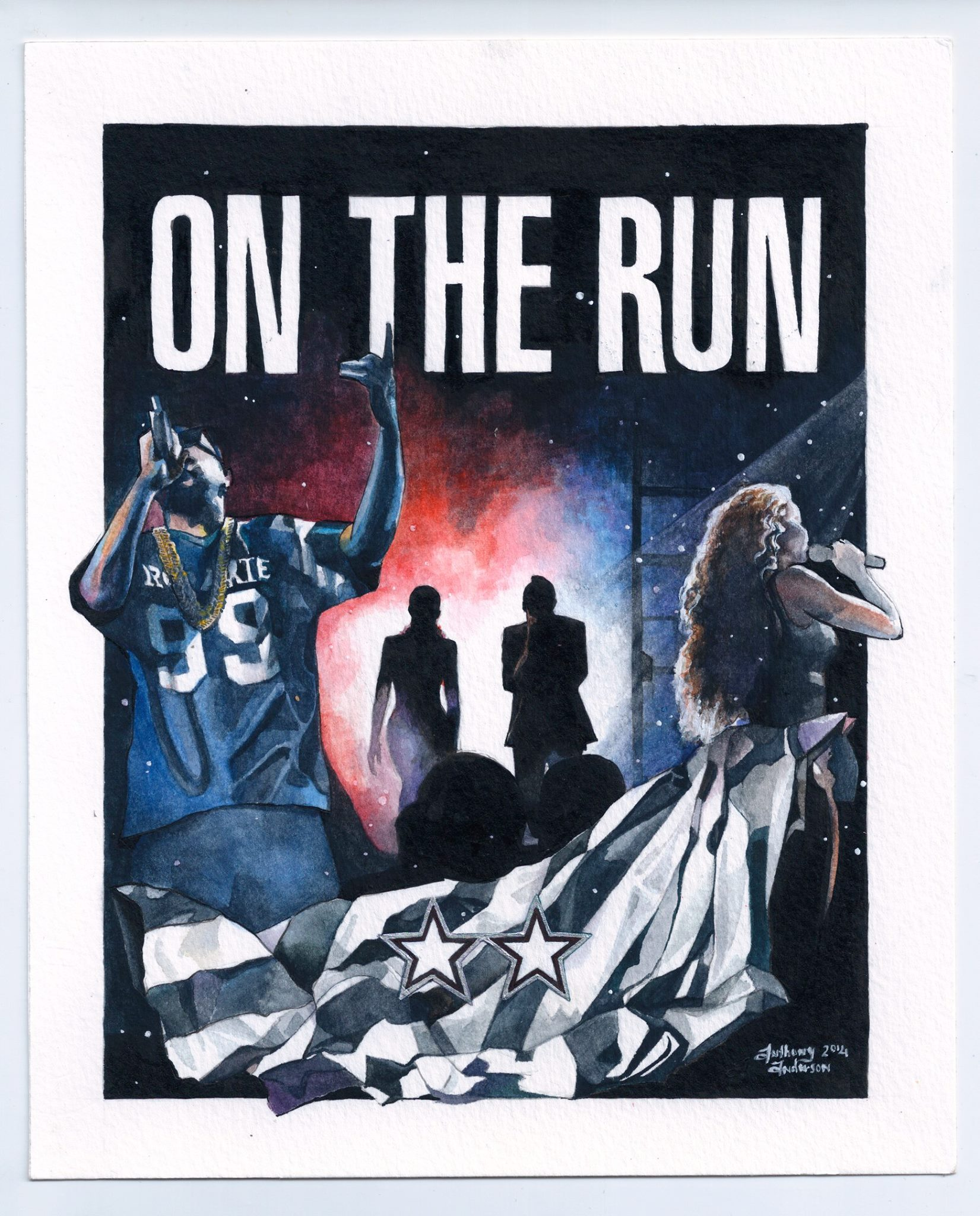 """""""On The Run"""" tour poster  watercolor, gouache, India ink"""